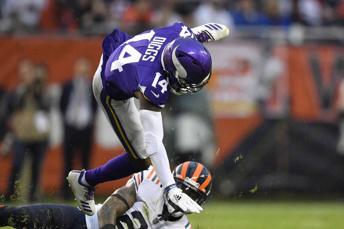Minnesota Vikings wide receiver Stefon Diggs is tackled in the fourth quarter by Chicago Bears strong safety Ha Ha Clinton-Dix at Soldier Field.