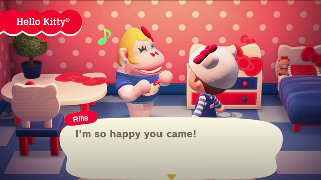 screen showing Hello Kitty-themed apparel and decor in Animal Crossing: New Horizons