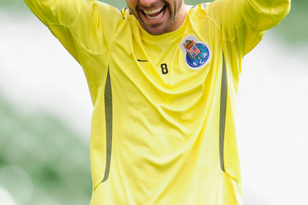 DUBLIN, IRELAND - MAY 17:  Joao Moutinho of FC Porto laughs during a FC Porto training session ahead of their UEFA Europa League Final against SC Braga at The Dublin Arena on May 17, 2011 in Dublin, Ireland.  (Photo by Jamie McDonald/Getty Images)
