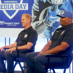 BYU athletic director Tom Holmoe and Kalani Sitake, BYU's head football coach, answer questions during BYU football media day at the BYU Broadcasting Building in Provo on Thursday, June 17, 2021.