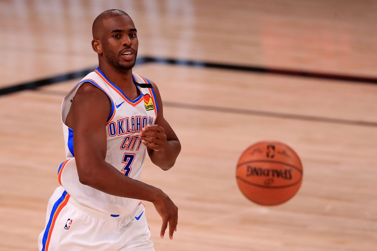 Chris Paul of the Oklahoma City Thunder passes the ball during the second quarter against the Houston Rockets in Game Seven of the Western Conference First Round during the 2020 NBA Playoffs at AdventHealth Arena at ESPN Wide World Of Sports Complex on September 02, 2020 in Lake Buena Vista, Florida.