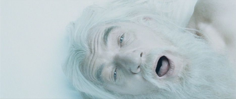 Gandalf is resurrected, white haired and naked in The Two Towers.