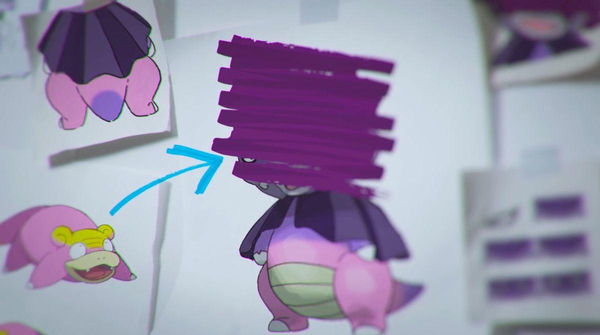 An illustration of Galarian Slowpoke and an obscured illustration of Galarian Slowking from Pokémon Sword/Shield.