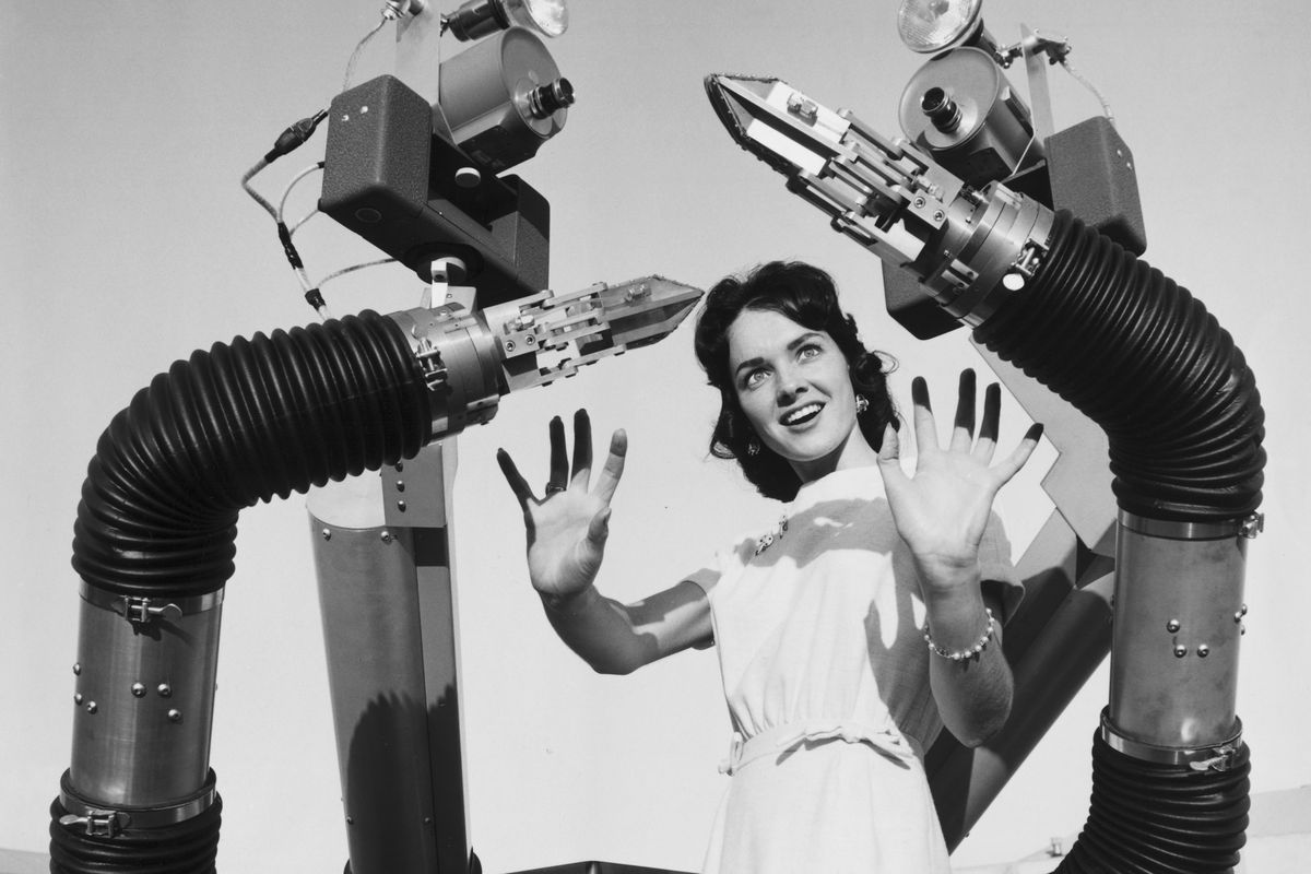 Woman with Mobile Robot