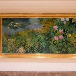 Remnants of one of the murals originally covering the walls of the instruction rooms are now displayed in other areas of the Mesa Arizona Temple. The artwork needed to be removed to allow room for repairs and the updating of utilities behind the walls of the instruction rooms. New murals that pay homage to the original artists' concepts now decorate those rooms.