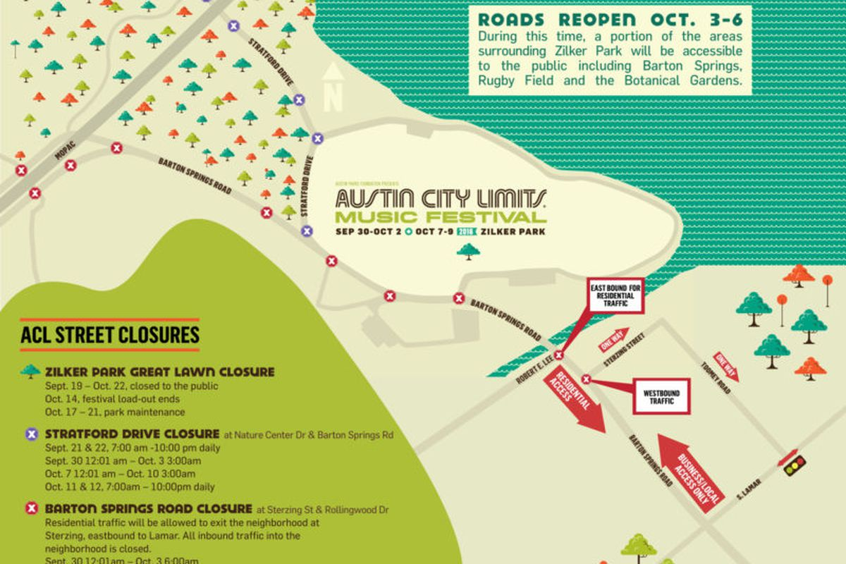 ACL Fest street closures map, weekend two - Curbed Austin