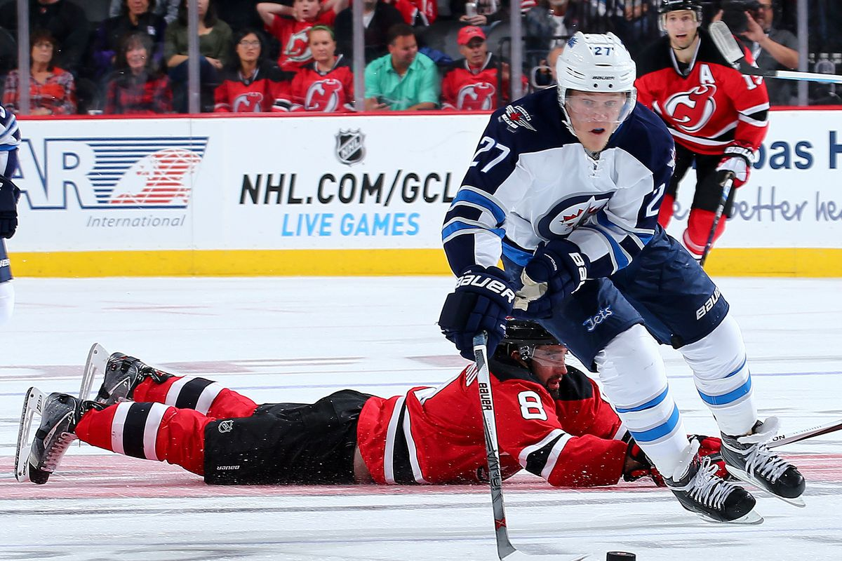 This was the moment Ehlers went off to the races in the third.  Schlemko being down is symbolic for this game.