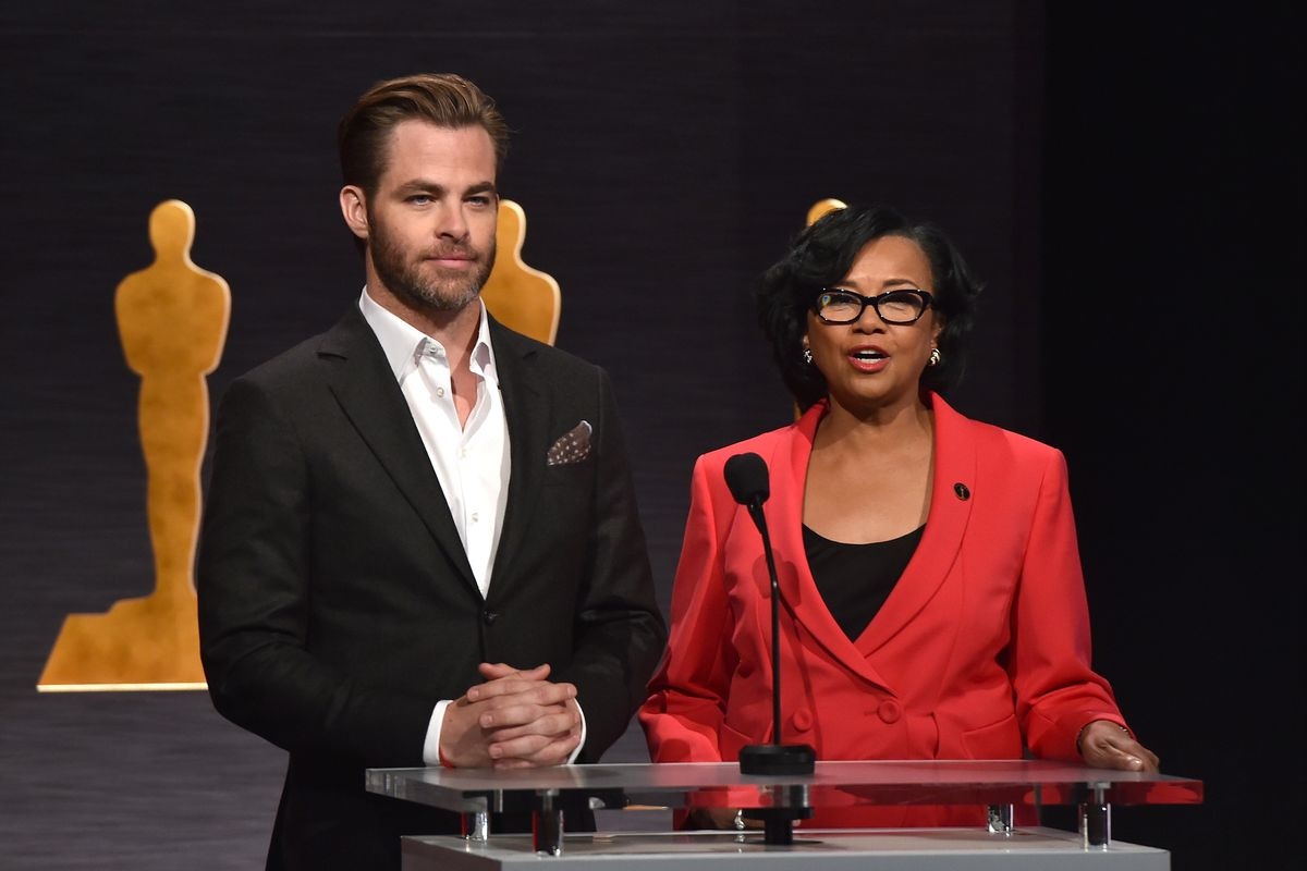 Actor Chris Pine and Academy President Cheryl Boone Isaacs announce the nominations for the 87th annual Academy Awards.