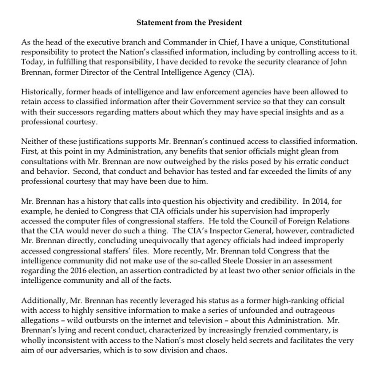Trump Revokes John Brennan's Security Clearance For