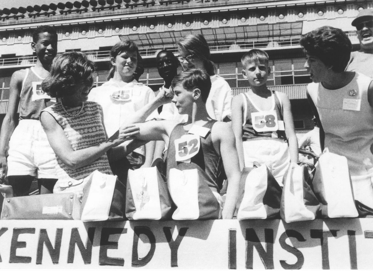 Eunice Kennedy Shriver, left, with athletes at the 1968 Special Olympics.   Special Olympics file photo