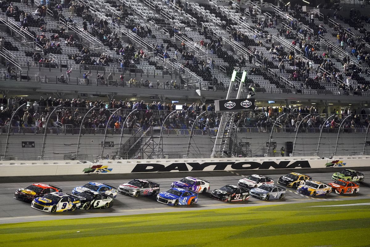 Drivers restart after a weather delay during the Daytona 500 on Feb. 14.