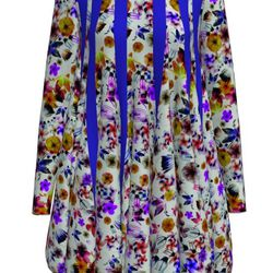 """<a href=""""http://www.tinkertailor.com/designer/#/customize/120"""">The Ether dress</a> blossom print can be short, a little bit longer with short sleeves, or even longer still and sleeveless ($1,300)"""