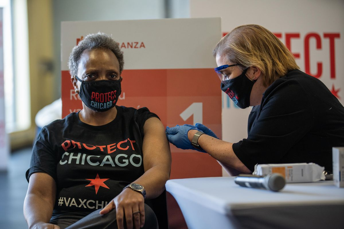 Mayor Lori Lightfoot got her second dose of the Pfizer coronavirus vaccine on Feb. 19, 2021. It was administered by Chicago Department of Public Health Commissioner Allison Arwady.