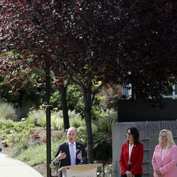 Gov. Spencer Cox speaks about water conservation during the current droughtat the Jordan Valley Water Conservancy District in West Jordan on Thursday, July 29, 2021. Also attending are, from left, Utah Department of Natural Resources Executive Director Brian Steed, St. George Mayor Michele Randall, Lt. Governor Deidre Henderson, South Jordan Mayor Dawn Ramsey, Central Utah Water conservation manager Rick Maloy and Jordan Valley Water Conservancy District general manager Bart Forsyth.