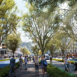 The Point of the Mountain State Land Authority has released new renderings of what the southern Salt Lake County development might look like, including this rendering of the business Main Street area.