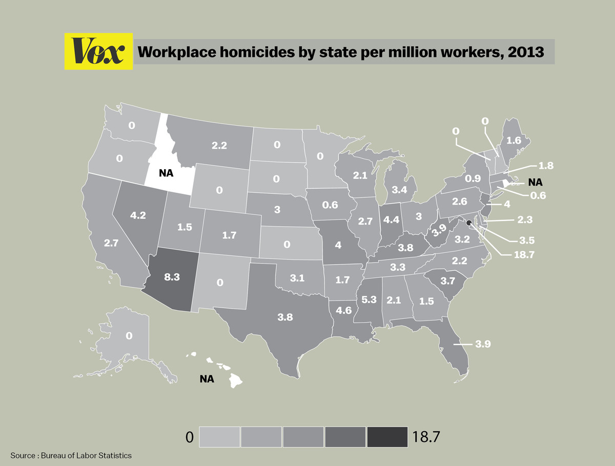 States by murders at work