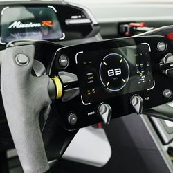 <em>The Mission R's steering wheel is inspired by the gaming rigs for driving games.</em>