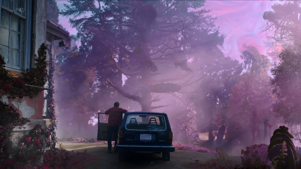 A visitor to the stricken farm in Richard Stanley's film Color Out of Space marvels at purple trees, a swirling sky, and a sickly haze over everything.