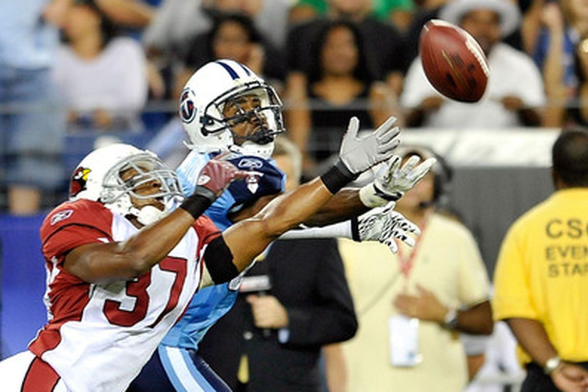 Trumaine McBride breaks up a pass in a 2010 game for the Arizona Cardinals