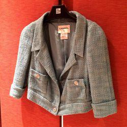 Chanel blue tweed jacket // Size: 44 // $475
