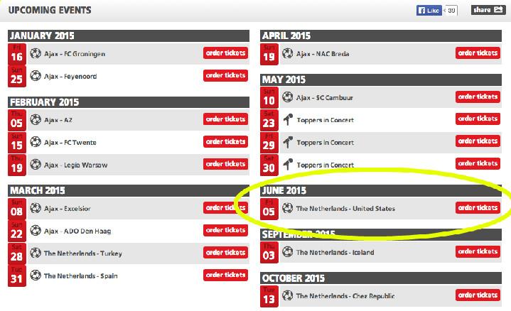 amsterdam arena schedule