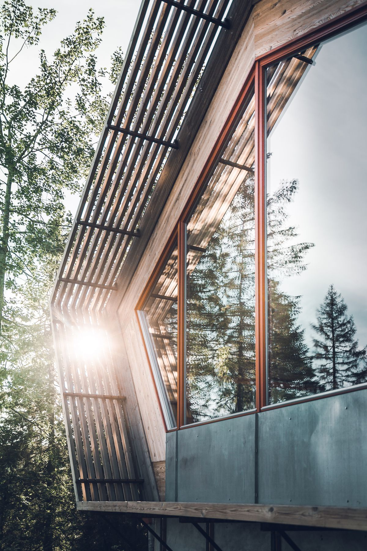 Exterior of house with sun shining