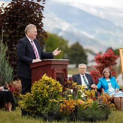 Elder Craig C. Christensen of the Utah Area Presidency speaks at the groundbreaking of the Layton Utah Temple on Saturday, May 23, 2020.