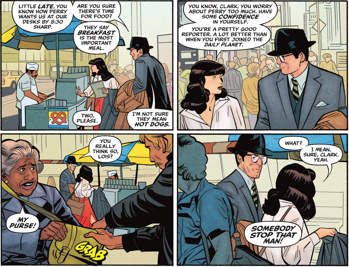 Clark Kent follows Lois as they talk about work and she orders two hot dogs for breakfast. He also observes a purse snatcher, in Superman '78 #1 (2021).