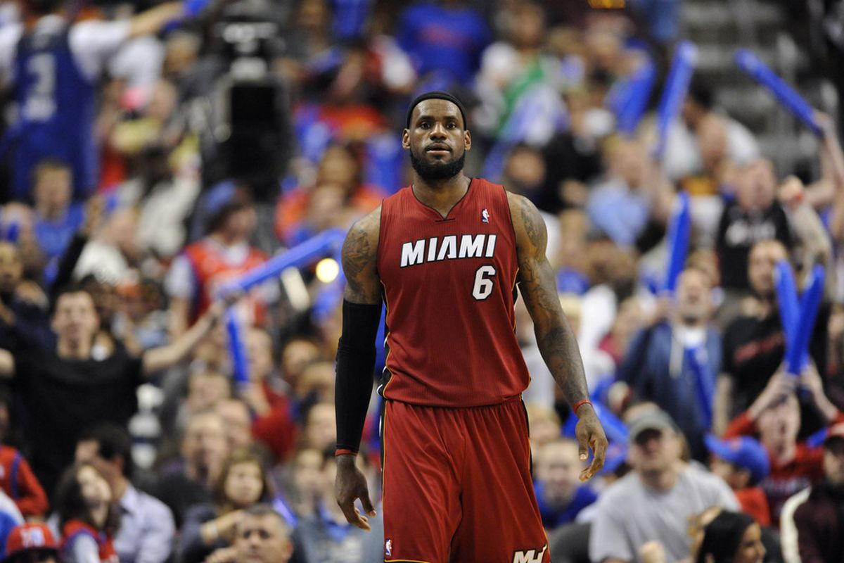 Mar 16, 2012; Philadelphia, PA, USA; Miami Heat forward LeBron James (6) during the third quarter against the Philadelphia 76ers at the Wells Fargo Center. The Heat defeated the Sixers 84-78. Mandatory Credit: Howard Smith-US PRESSWIRE