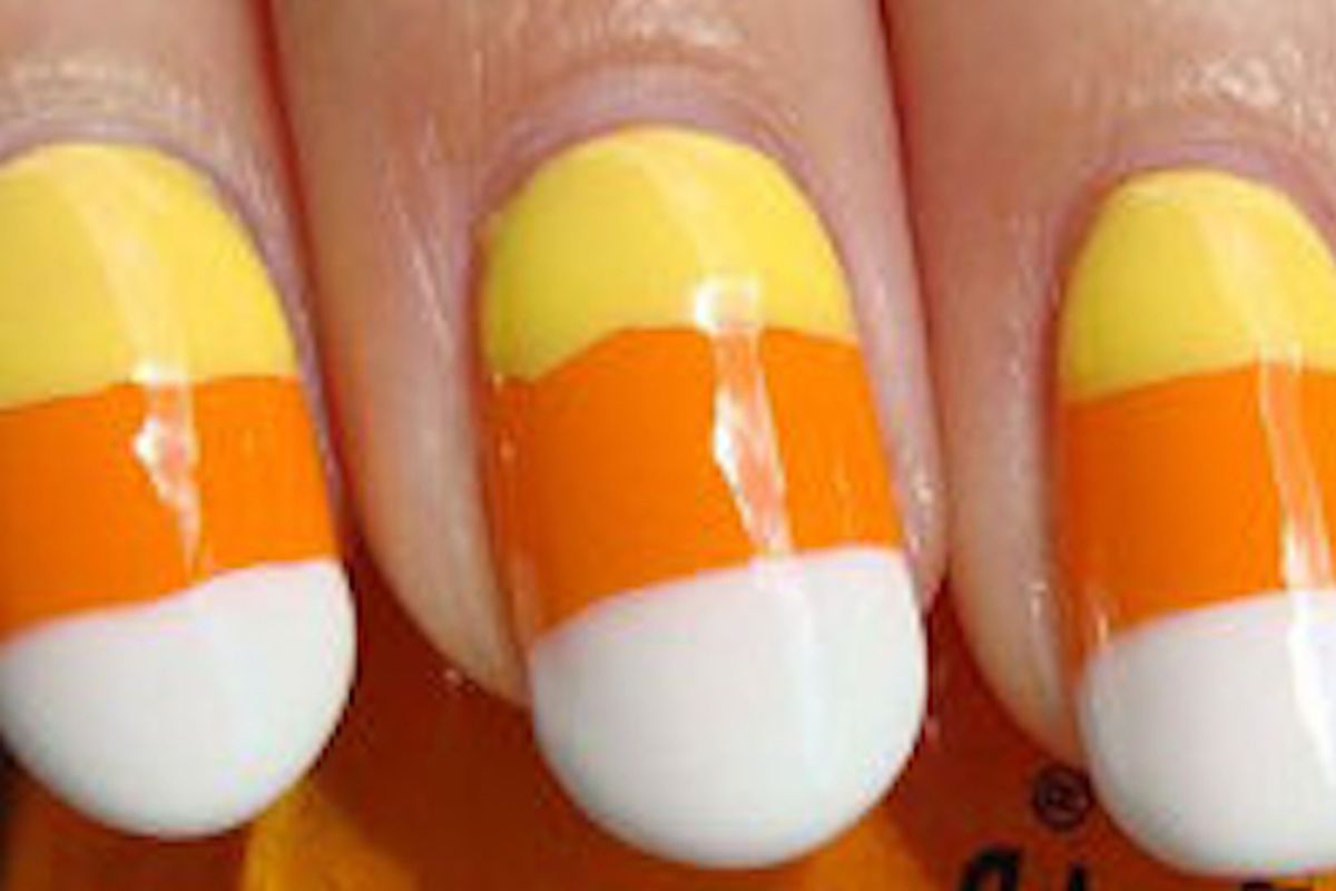 """This All Hallow's Eve is gonna be a nail biter. Image via <a href=""""http://www.stylelist.com/2011/10/25/candy-corn-nail-art_n_1027481.html"""">Styleist</a>"""