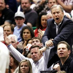 Utah Jazz President Randy Rigby screams at official Marc Davis after a no call as the Utah Jazz and the Orlando Magic play Saturday, April 21, 2012 in Energy Solutions arena.