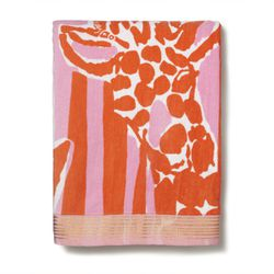 'Giraffeeey' beach towel, $25