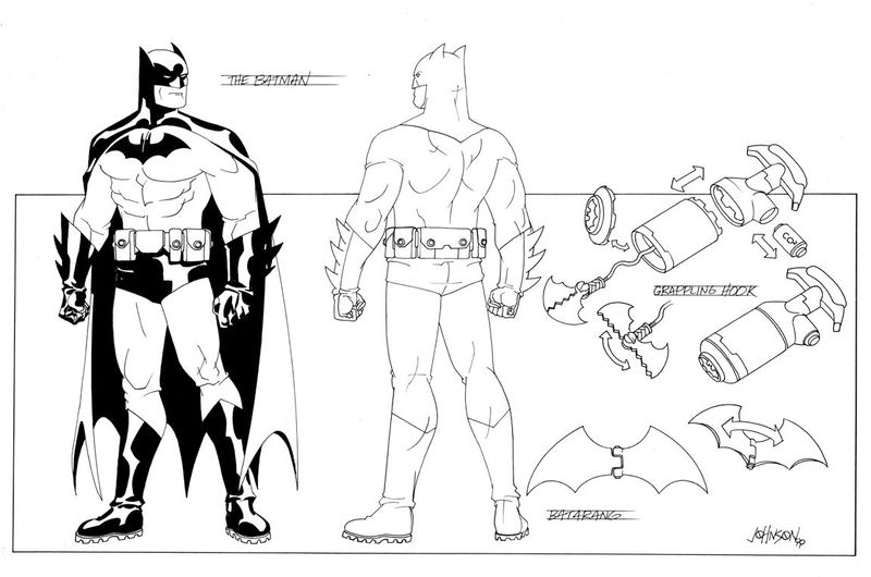 Design sheets for a new Batman costume design, with treaded boots, a bulky belt, and a black bat symbol with no oval.