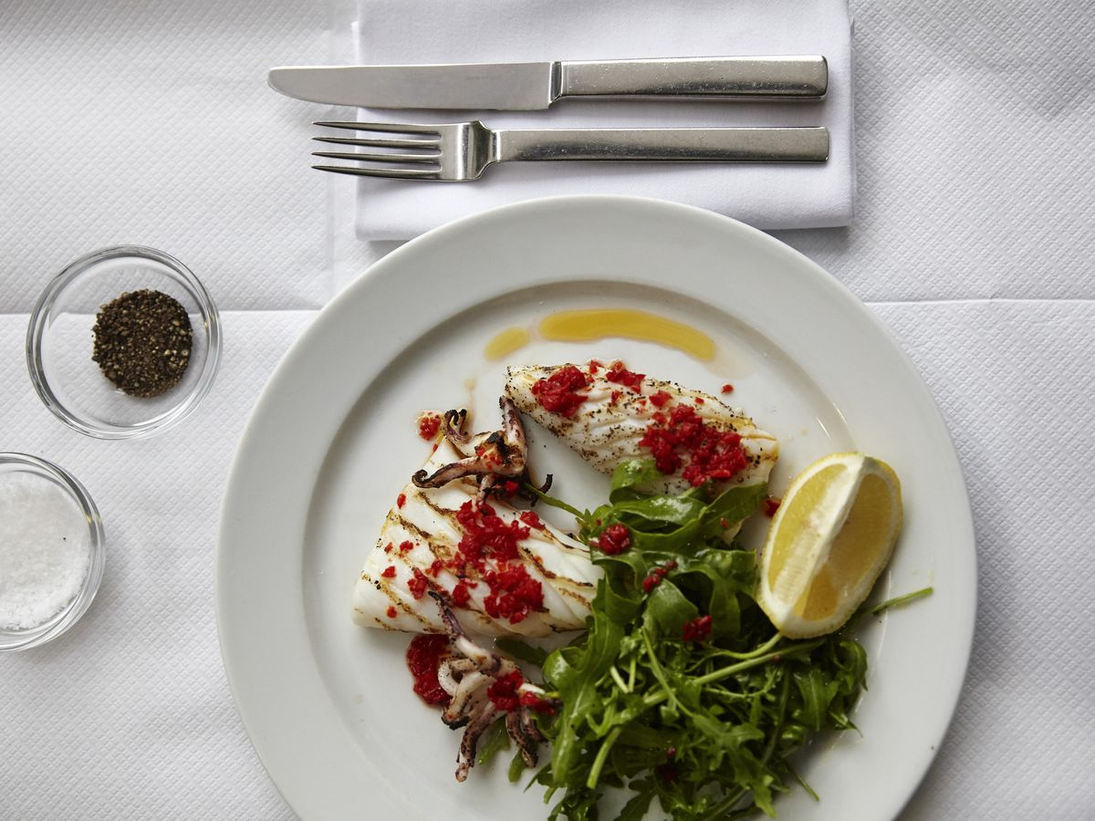Squid with chilli and lemon at The River Cafe, one of London's best waterside Italian restaurants