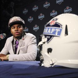 Alabama's Mark Barron speaks to reporters after being selected as the seventh pick overall by the Tampa Bay Buccaneers in the first round of the NFL football draft at Radio City Music Hall, Thursday, April 26, 2012, in New York.