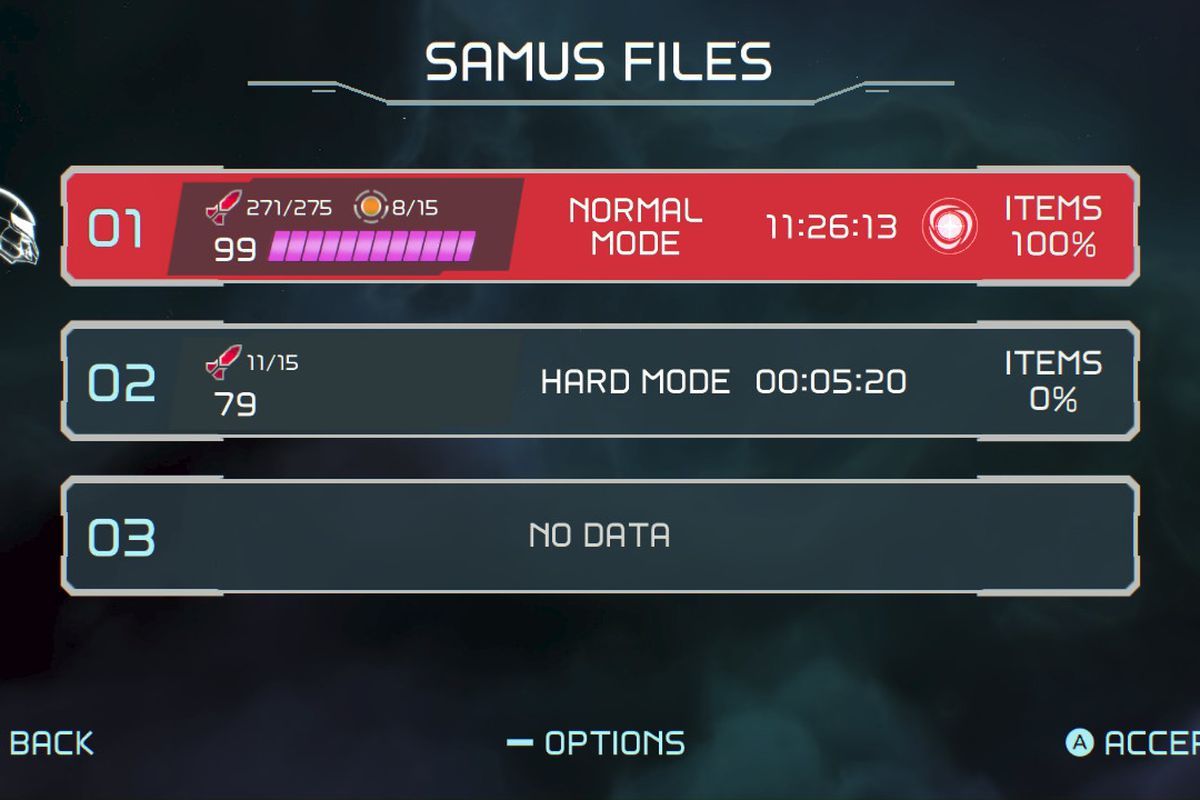 Metroid Dread Samus Files menu showing Items 100% completion
