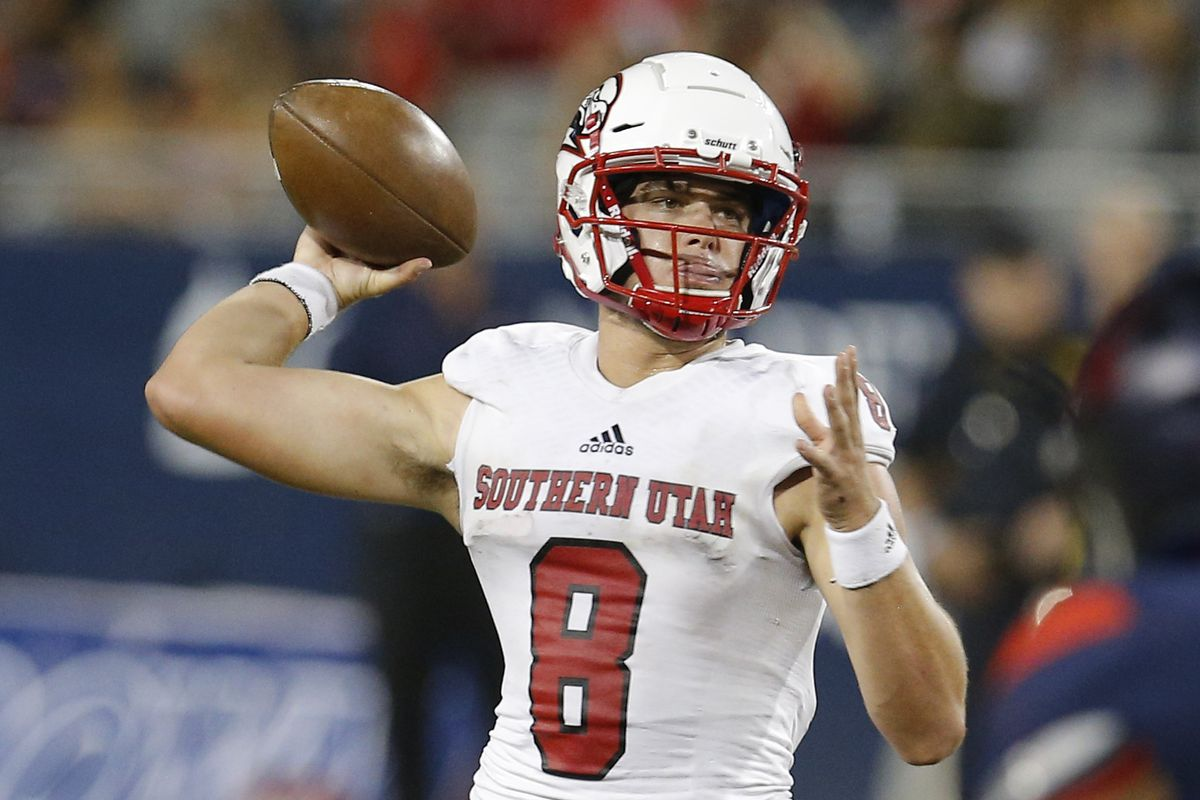 Southern Utah quarterback Chris Helbig (8) in the first half during an NCAA college football game against Arizona, Saturday, Sept. 15, 2018, in Tucson, Ariz.