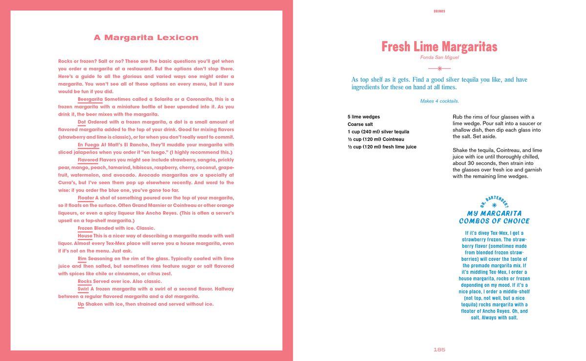 Margarita breakdown and recipe from The Austin Cookbook