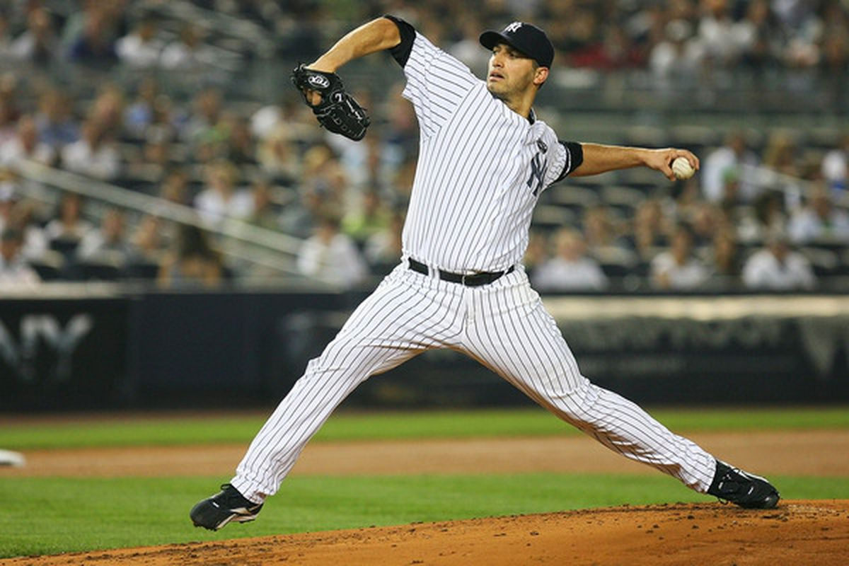 NEW YORK - SEPTEMBER 24:  Andy Pettitte #46 of the New York Yankees pitches against the Boston Red Sox on September 24 2010 at Yankee Stadium in the Bronx borough of New York City.  (Photo by Andrew Burton/Getty Images)