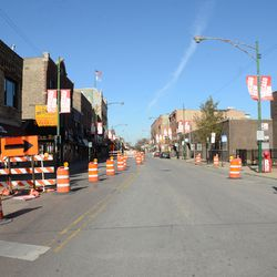 10:24 a.m. View looking north on Clark Street, at Waveland Avenue. Clark Street is temporarily a one way street -