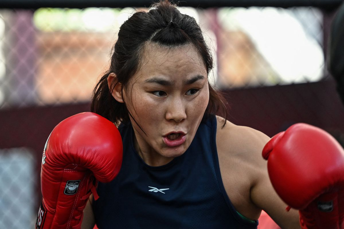 Yan Xiaonan training at the UFC Performance Institute in Shanghai.