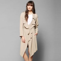 """<b>UNIF</b> Flasher Drapey Trench Jacket in Brown, <a href=""""http://www.urbanoutfitters.com/urban/catalog/productdetail.jsp?id=31395619&parentid=W_OUTERWEAR"""">$129</a>"""