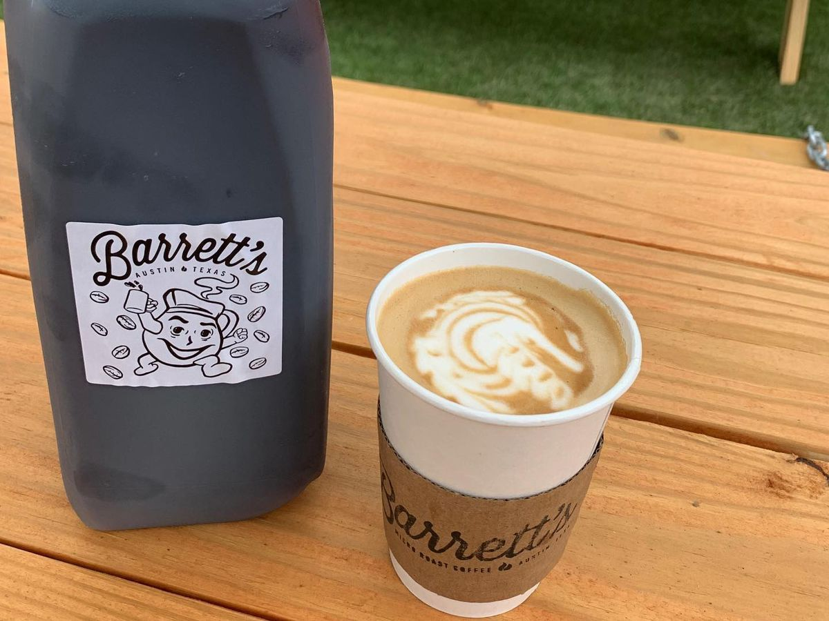 Cold brew and a latte at Barrett's