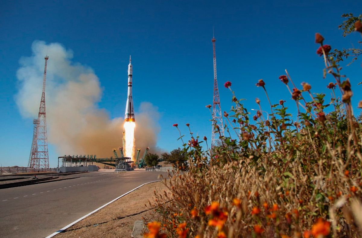 Soyuz-2.1a rocket booster carrying Soyuz MS-19 spacecraft with Russian film crew launched from Baikonur Cosmodrome