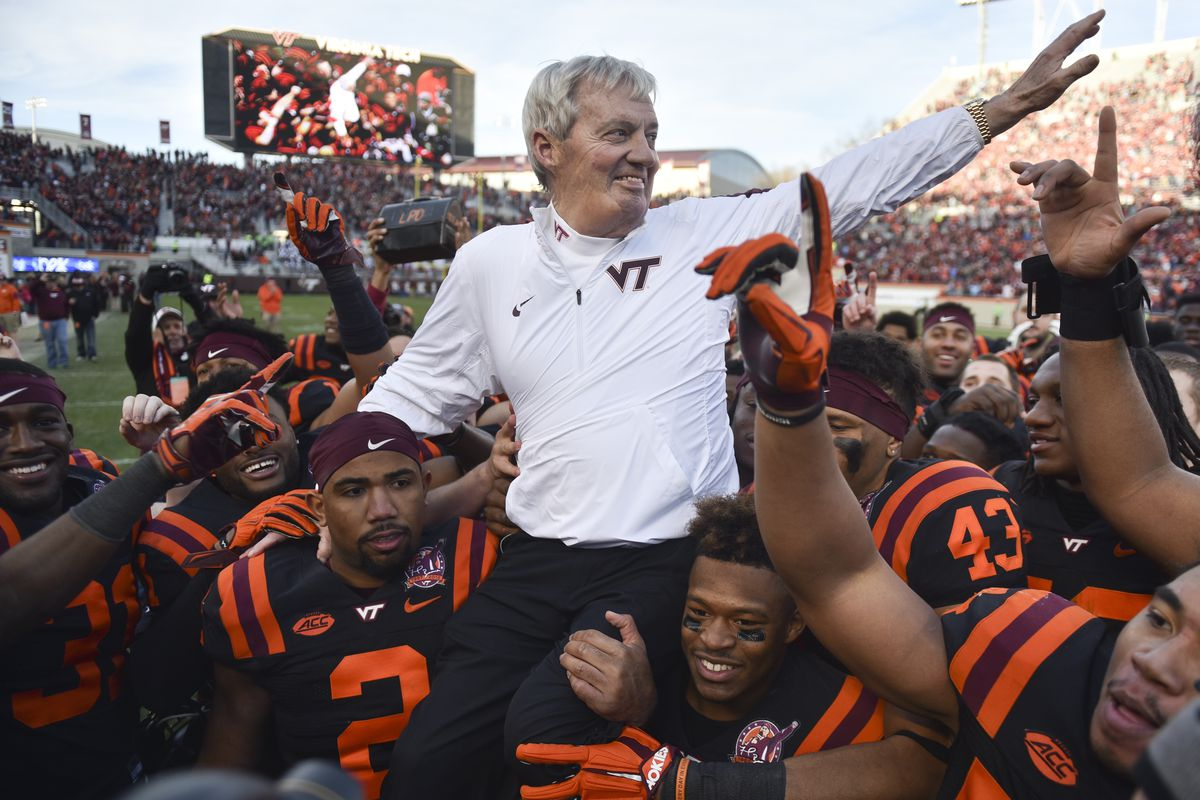 The Team Carries Coach Beamer off the field even after a tough loss.  Thanks Coach!