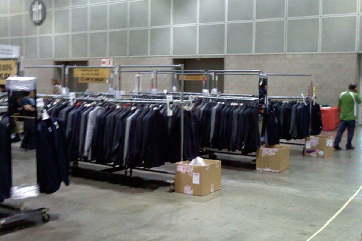 About ten of these racks full of amazing suits. Who says weren't not looking out for the guys?