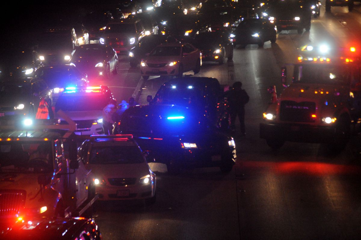 Traffic was halted after a man was shot Thursday night while traveling in the westbound lanes of the Eisenhower Expressway. | Justin Jackson/Sun-Times