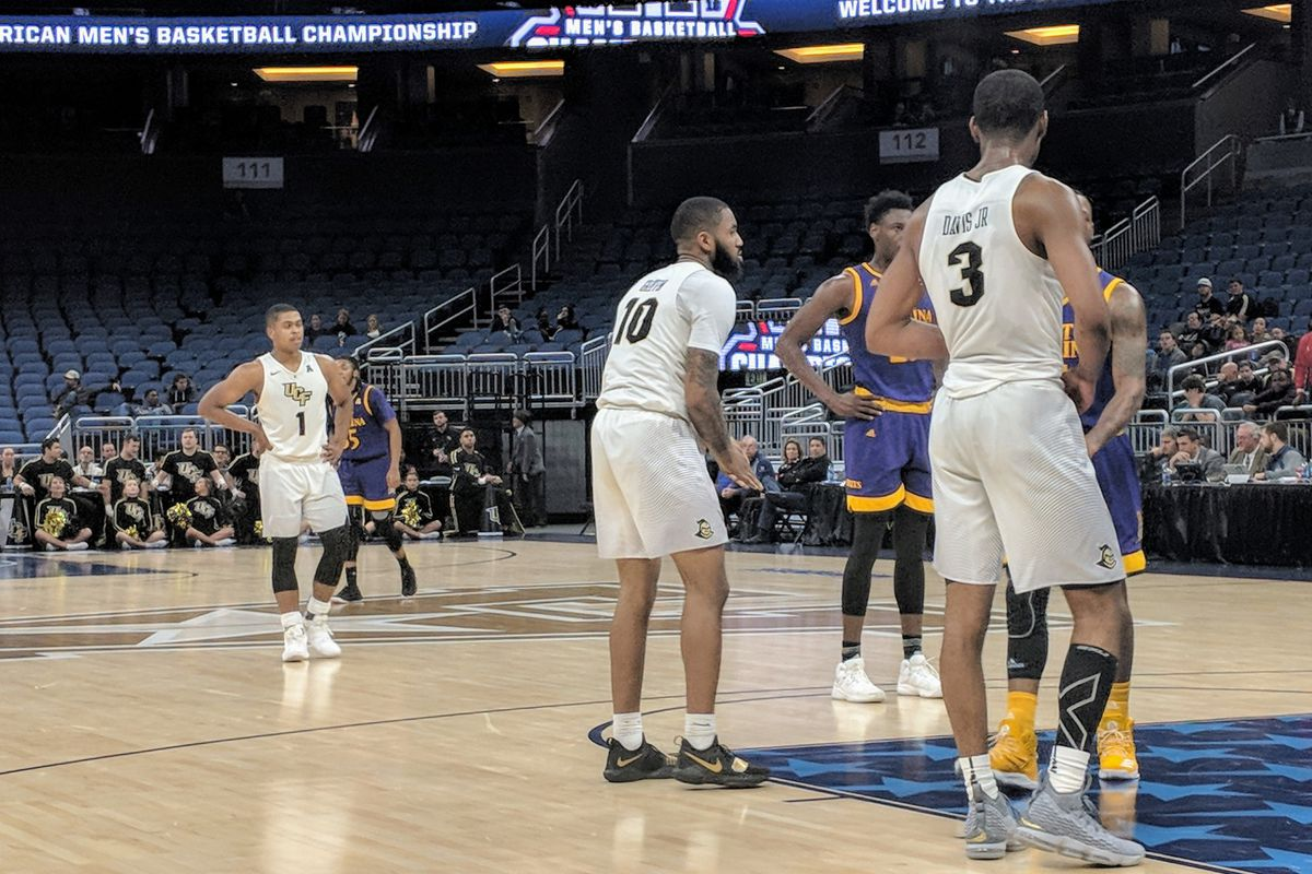 B.J. Taylor, Dayon Griffin and A.J. Davis (from left to right) played critical roles during UCF's win over East Carolina in the AAC Conference Tournament on Thursday night. (Photo: Brian Murphy)
