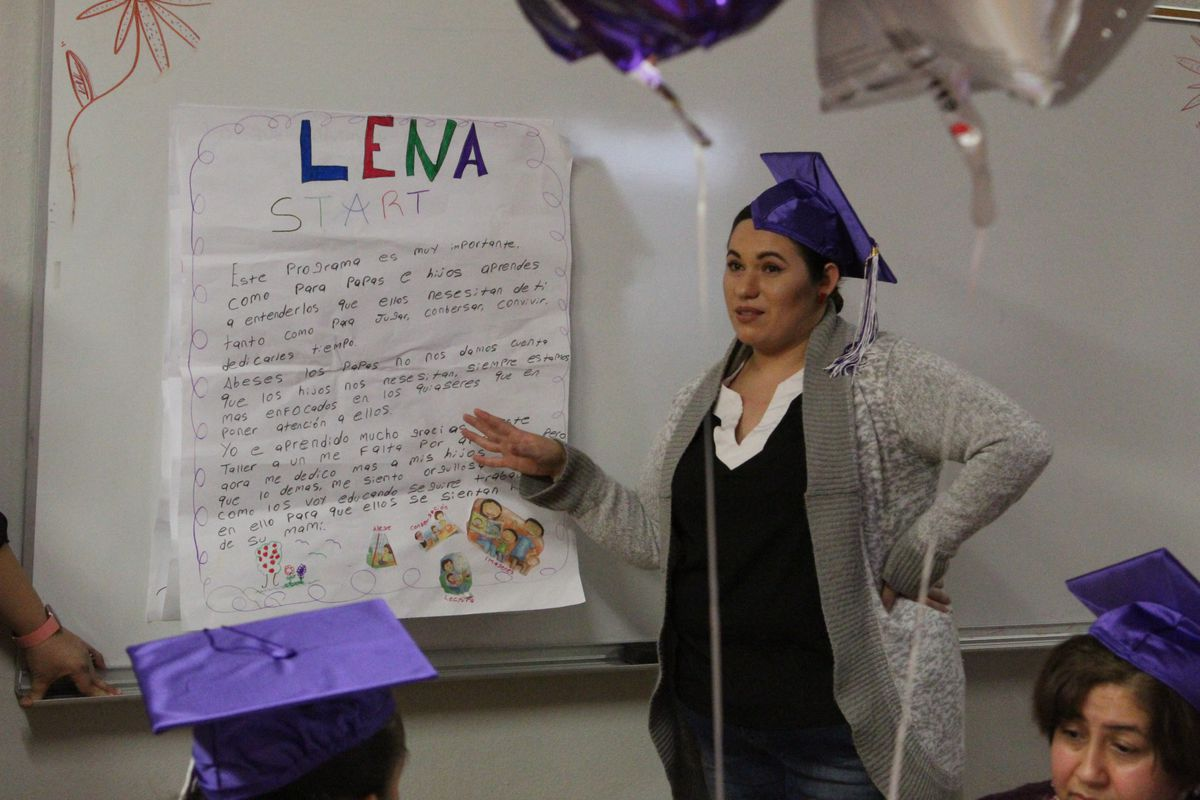 Yuliana Moreno told parents at her LENA Start graduation on Tuesday that her children have become more talkative because of the program.