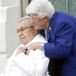 Elder Boyd K. Packer and his wife Donna have a brief conversation during the cornerstone ceremony. About 200 took part in the ceremony at the Brigham City Temple prior to the dedication Sunday, Sept. 23, 2012.
